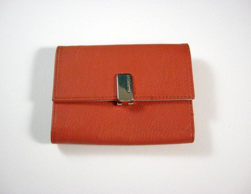 Image 0 of Liz Claiborne Orange/Peach Faux Leather Wallet Tri fold w/ flap and back zip coi