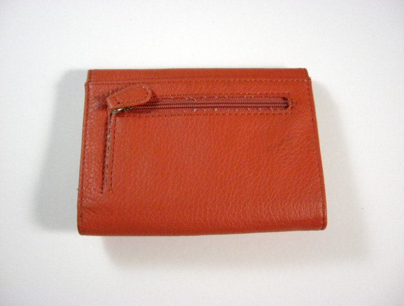 Image 1 of Liz Claiborne Orange/Peach Faux Leather Wallet Tri fold w/ flap and back zip coi