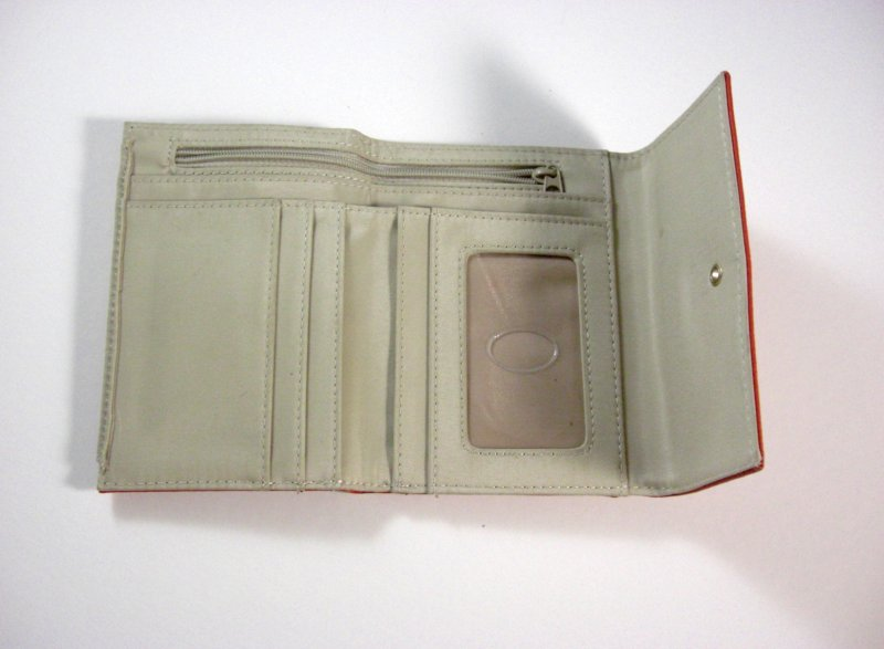 Image 2 of Liz Claiborne Orange/Peach Faux Leather Wallet Tri fold w/ flap and back zip coi
