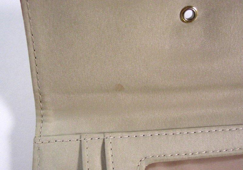 Image 3 of Liz Claiborne Orange/Peach Faux Leather Wallet Tri fold w/ flap and back zip coi