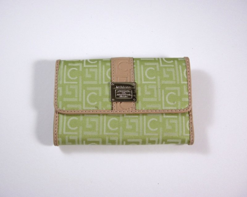 Image 0 of Liz Claiborne Lime Signature Jacquard Tri fold Wallet w/ flap and back zip coin