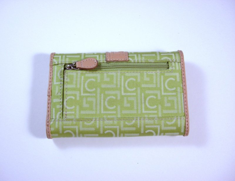 Image 1 of Liz Claiborne Lime Signature Jacquard Tri fold Wallet w/ flap and back zip coin