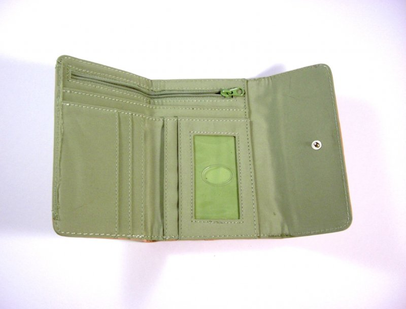 Image 2 of Liz Claiborne Lime Signature Jacquard Tri fold Wallet w/ flap and back zip coin