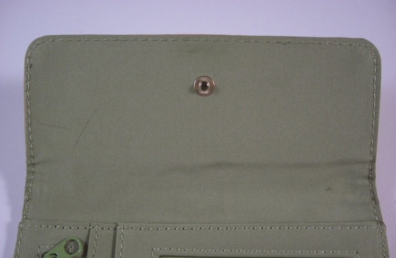 Image 3 of Liz Claiborne Lime Signature Jacquard Tri fold Wallet w/ flap and back zip coin