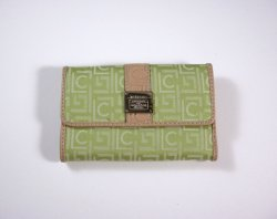 Liz Claiborne Lime Signature Jacquard Tri fold Wallet w/ flap and back zip coin