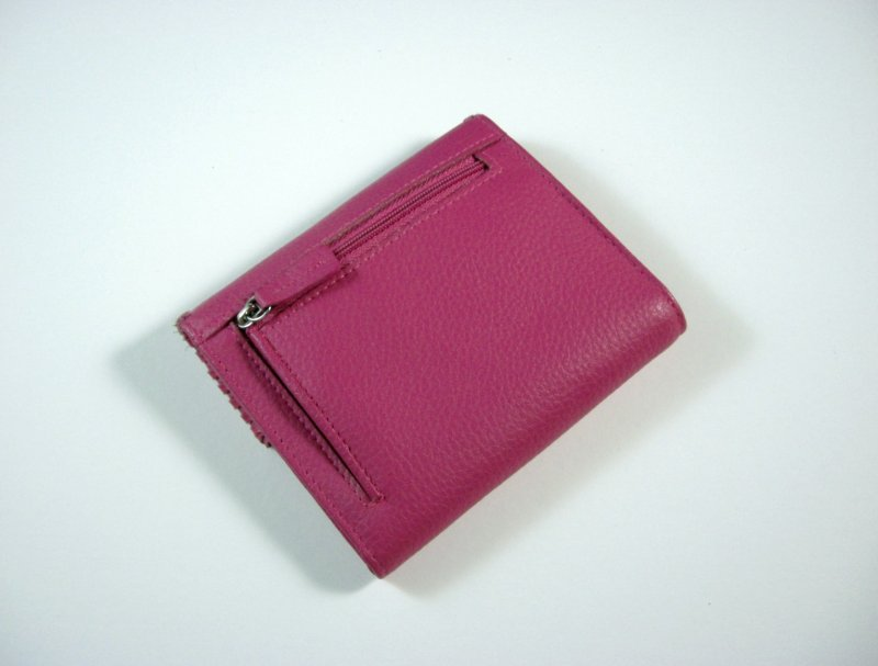 Image 1 of Buxton Bright Pink Leather Wallet Tri fold w/ flap and back zip coin pocket
