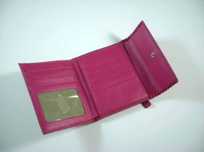 Image 2 of Buxton Bright Pink Leather Wallet Tri fold w/ flap and back zip coin pocket