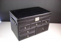 Large Black Faux Leather Jewelry Organizer Box / Storage Case
