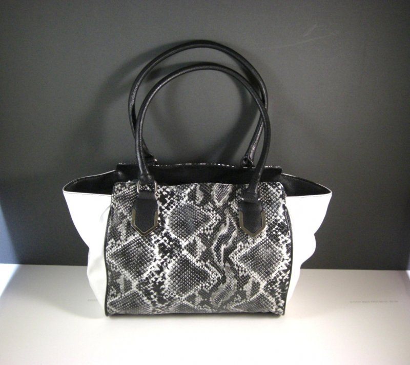 Image 0 of Black and White Faux Snakeskin Shopper Tote