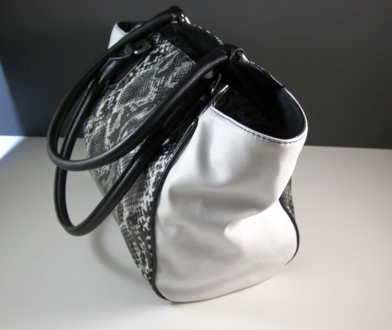 Image 1 of Black and White Faux Snakeskin Shopper Tote