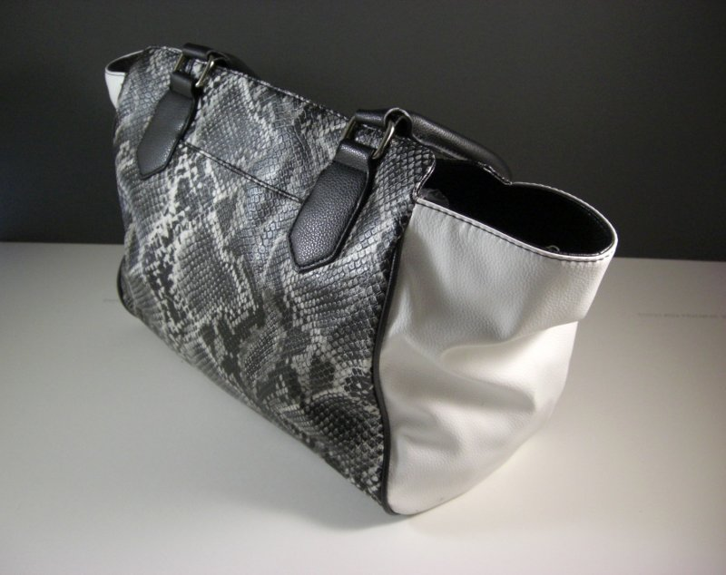 Image 2 of Black and White Faux Snakeskin Shopper Tote