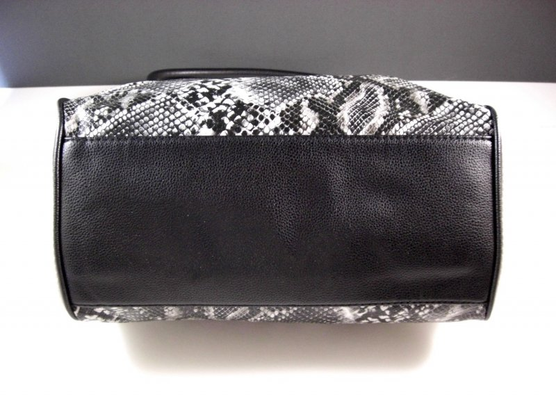 Image 3 of Black and White Faux Snakeskin Shopper Tote