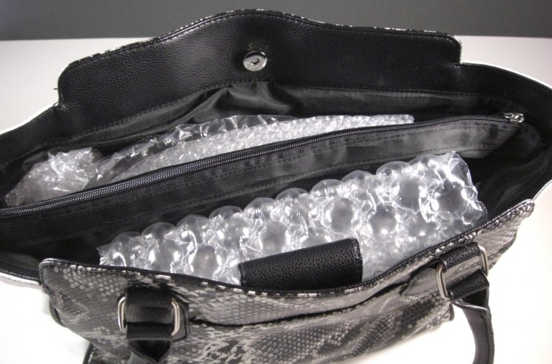 Image 4 of Black and White Faux Snakeskin Shopper Tote