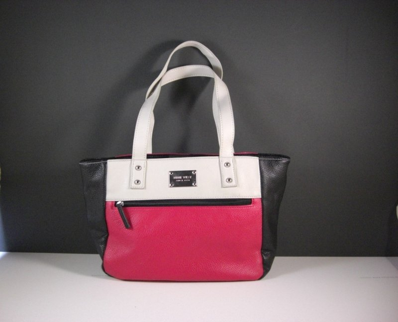 Image 0 of Nine West Black White and Red Faux Leather Shopper Tote