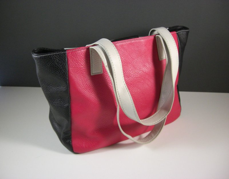 Image 1 of Nine West Black White and Red Faux Leather Shopper Tote