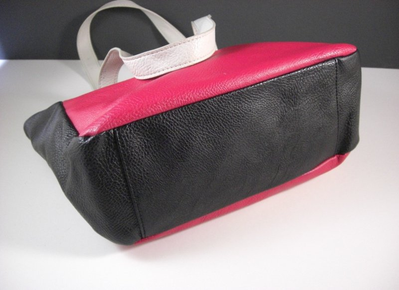 Image 2 of Nine West Black White and Red Faux Leather Shopper Tote