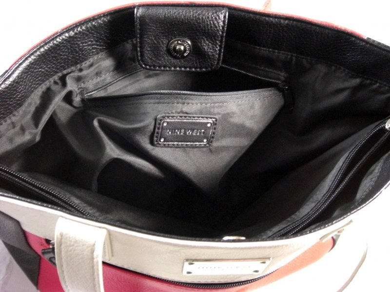 Image 3 of Nine West Black White and Red Faux Leather Shopper Tote
