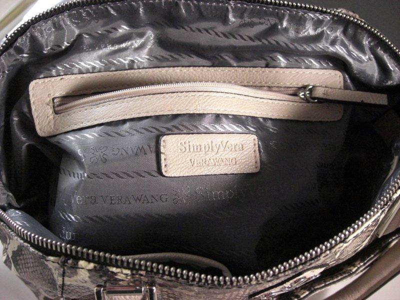 Image 3 of Simply Vera Wang Satchel Purse Shoulder Bag Handbag Faux Snakeskin