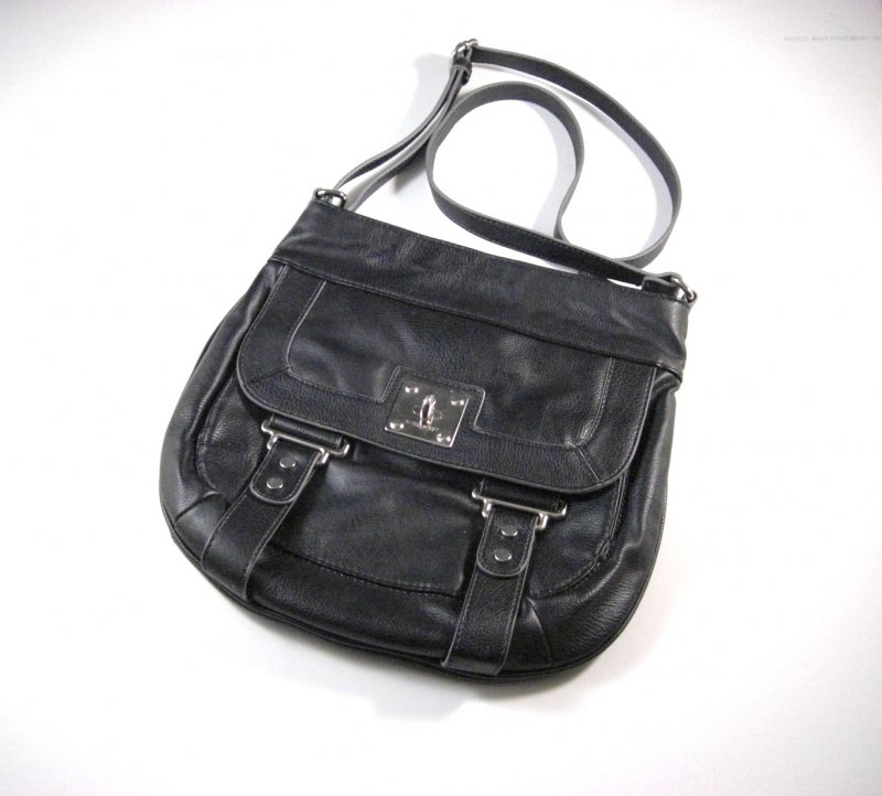 Image 0 of Nine West Black Faux Leather Crossbody Shoulder Bag / Messenger Bag