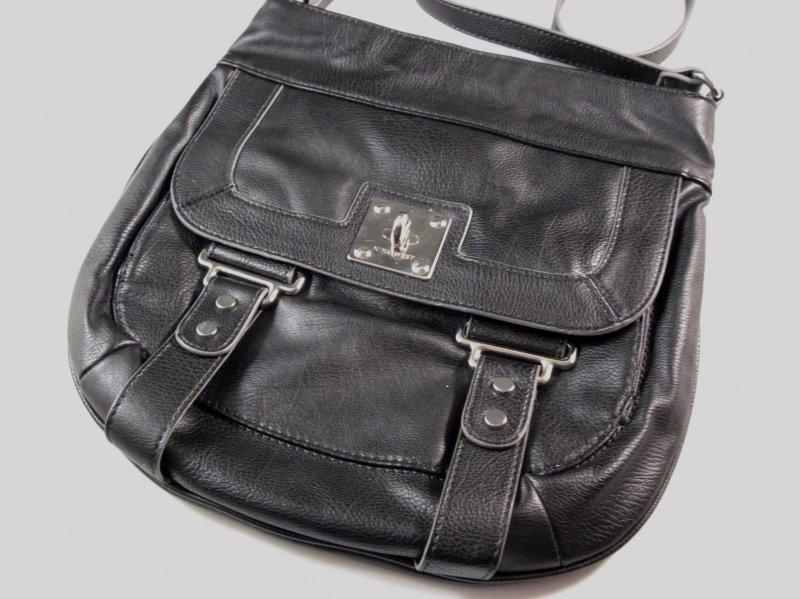 Image 1 of Nine West Black Faux Leather Crossbody Shoulder Bag / Messenger Bag
