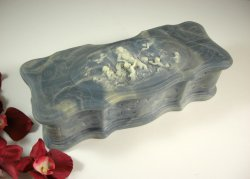 Incolay Stone Blue and White Marbled Jewelry Box / Aphrodite Putti Cherubs