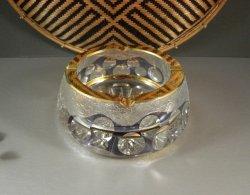Czech Bohemian Cut Crystal Art Glass Bowl Candy Nut Dish Ashtray Mod Mid Century