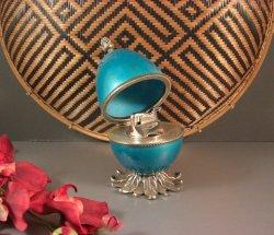 Vintage Blue Evans Enamel Egg Shaped Table Lighter