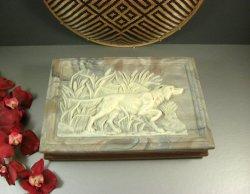 Walnut Incolay Stone Jewelry Trinket Box / Retriever Pointer Hunting Dog