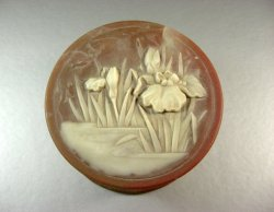 Incolay Caramel and White Marbled ROUND Stone Jewelry Box / IRIS