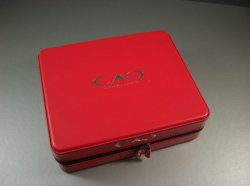 Red Vinyl Clad CAO Cigar Box / Full Zip Around