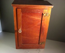Antique American Folk Art Wooden Doll Wardrobe Cabinet / 16+ inches tall