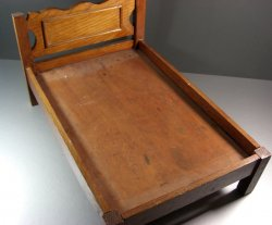 American Folk Art Antique Wooden Doll Bed / Large Scale