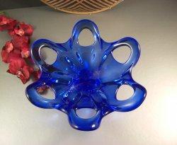 Laced Edge Cobalt Blue Art Glass Centerpiece Bowl
