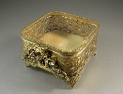 Ormolu Beveled Glass Jewelry Casket Trinket Dresser Box Original Stylebuilt Tag