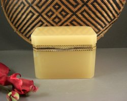 Splendid French Creme Opaline Glass Jewelry Casket Box / Dore Ormolu Mounts