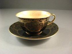 Noritake Morimura Cup and Saucer / Lustreware Lining / Gold Tone Trim