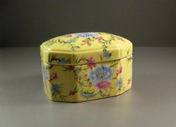 Vintage Baum Bros Formalities Yellow Porcelain Covered Decor Box