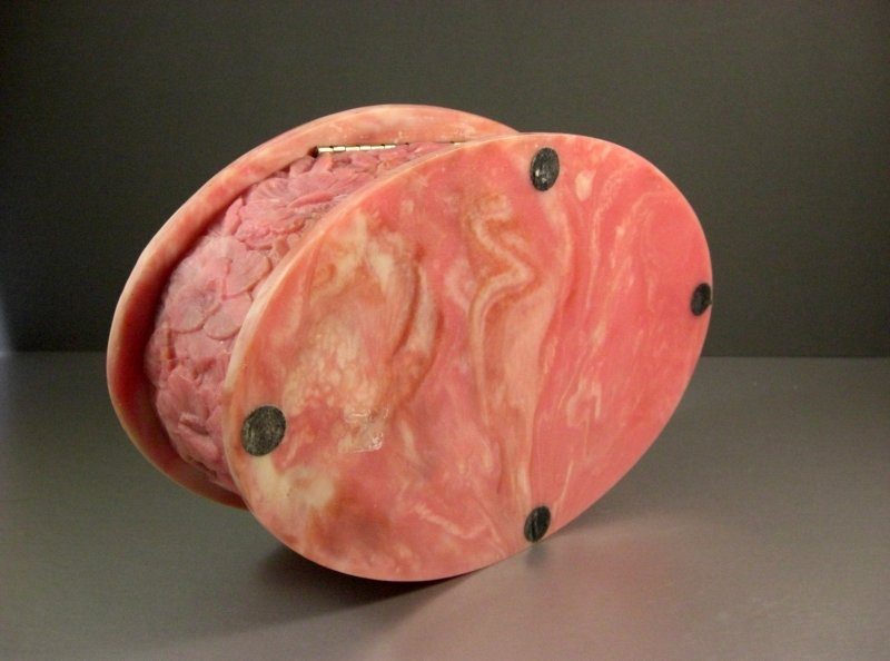 Image 3 of Large Pink Incolay Stone Birds of Paradise Jewelry Trinket Box