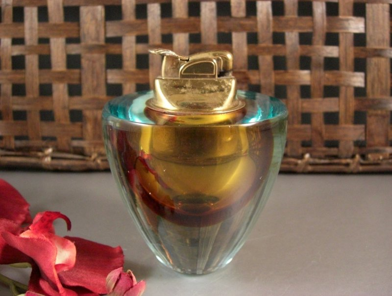 Image 4 of Barbini Sommerso Art Glass Table Lighter with ORIGINAL Tag 50s