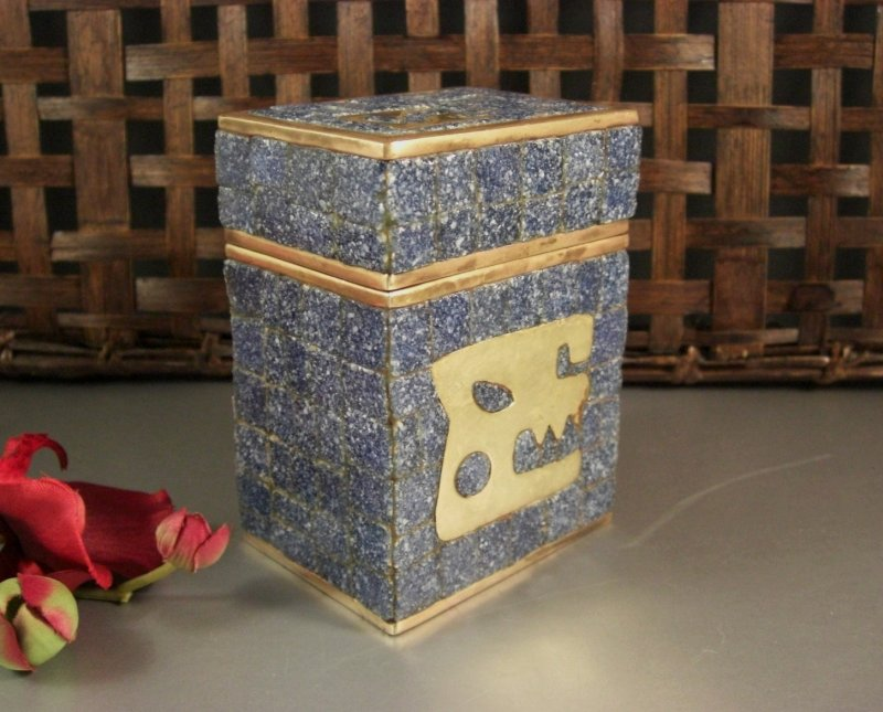Image 0 of Salvador Teran Glass Mosaic & Brass Covered Box / 1970s