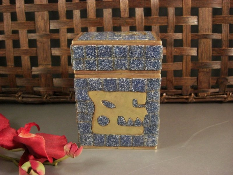Image 1 of Salvador Teran Glass Mosaic & Brass Covered Box / 1970s