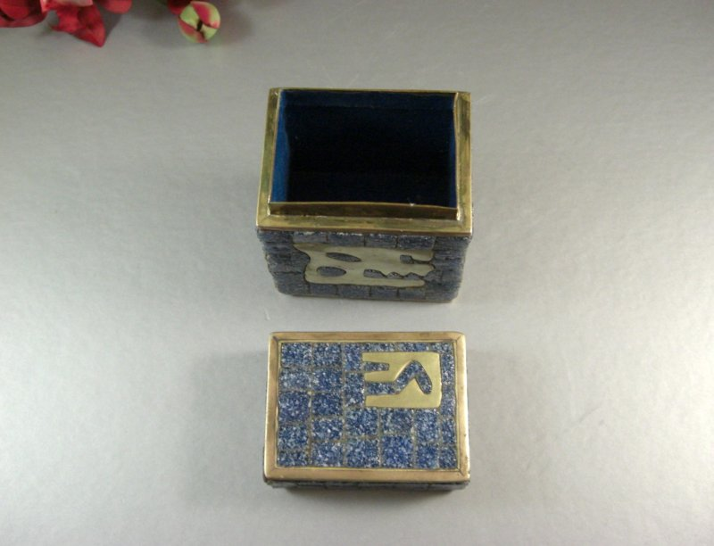 Image 3 of Salvador Teran Glass Mosaic & Brass Covered Box / 1970s