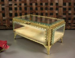 Globe Rectangle Ormolu Beveled Glass Jewelry Casket Box