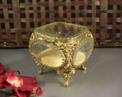 Ormolu and Beveled Glass Jewelry Casket Trinket Dresser Wedding Ring Box /