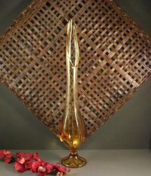 Viking Amber Swung Glass Vase / 22 inches tall
