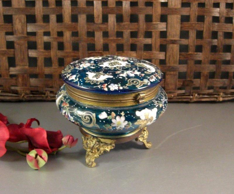 Image 0 of Bohemian Czech Biedermeir Enameled Blue Glass Dose / Dresser Trinket Jewelry Box