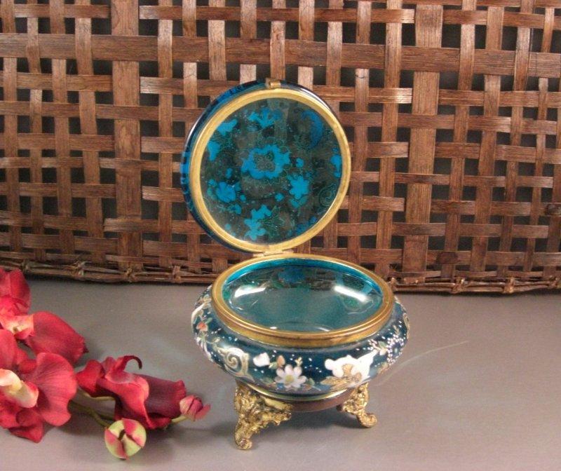 Image 1 of Bohemian Czech Biedermeir Enameled Blue Glass Dose / Dresser Trinket Jewelry Box