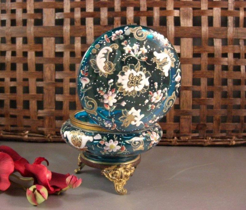 Image 2 of Bohemian Czech Biedermeir Enameled Blue Glass Dose / Dresser Trinket Jewelry Box