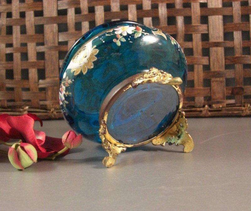 Image 3 of Bohemian Czech Biedermeir Enameled Blue Glass Dose / Dresser Trinket Jewelry Box