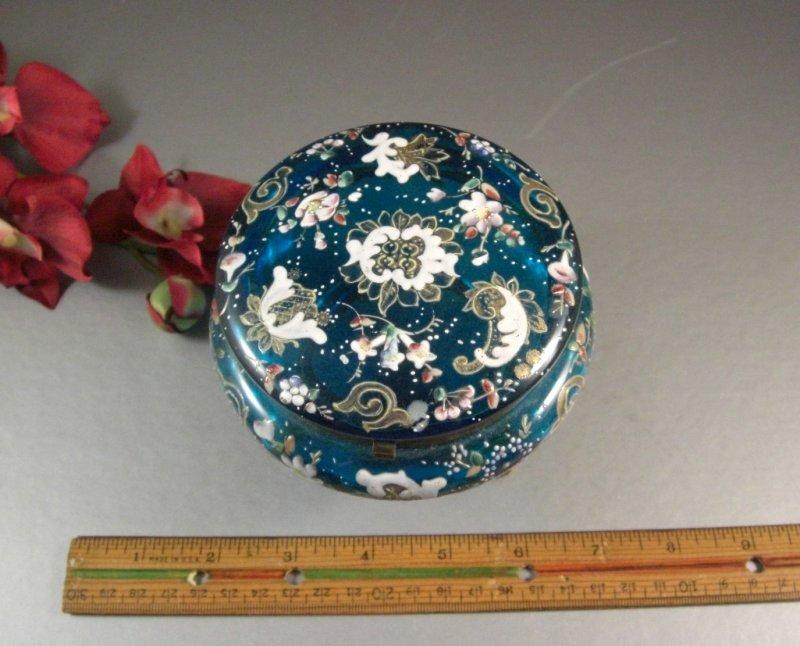 Image 4 of Bohemian Czech Biedermeir Enameled Blue Glass Dose / Dresser Trinket Jewelry Box